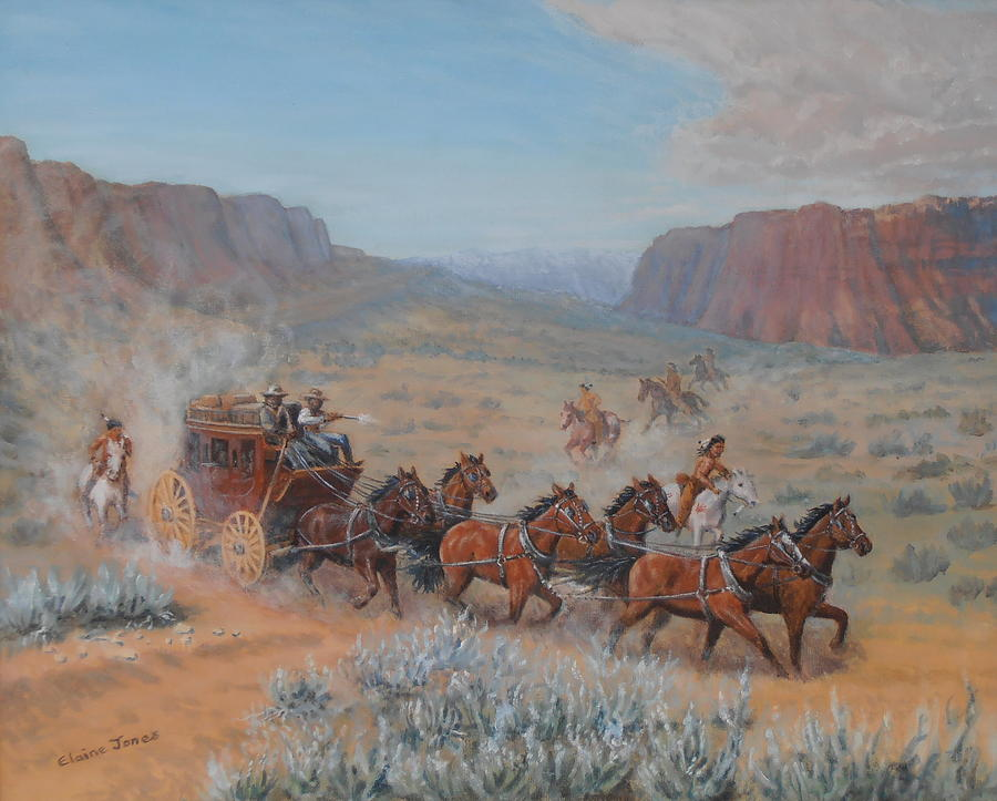 Stagecoach Painting - Saving The Nigh Leader by Elaine Jones