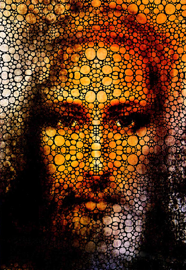 Jesus Painting - Savior - Stone Rockd Jesus Art By Sharon Cummings by Sharon Cummings