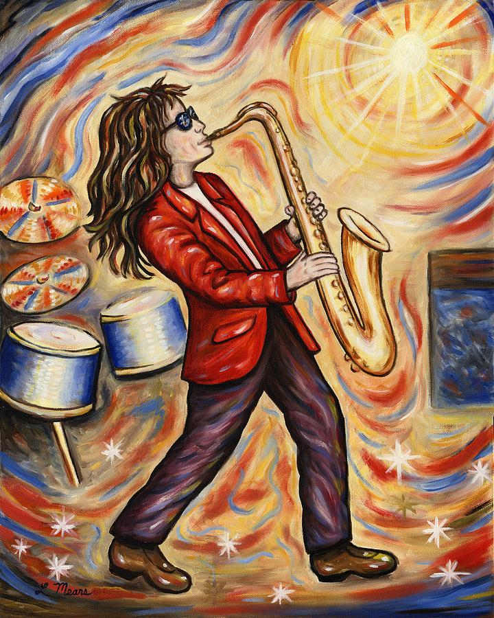 Music Painting - Sax Man by Linda Mears