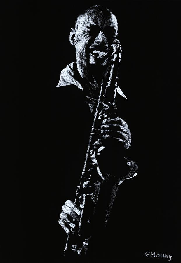 Musician Drawing - Sax Player by Richard Young