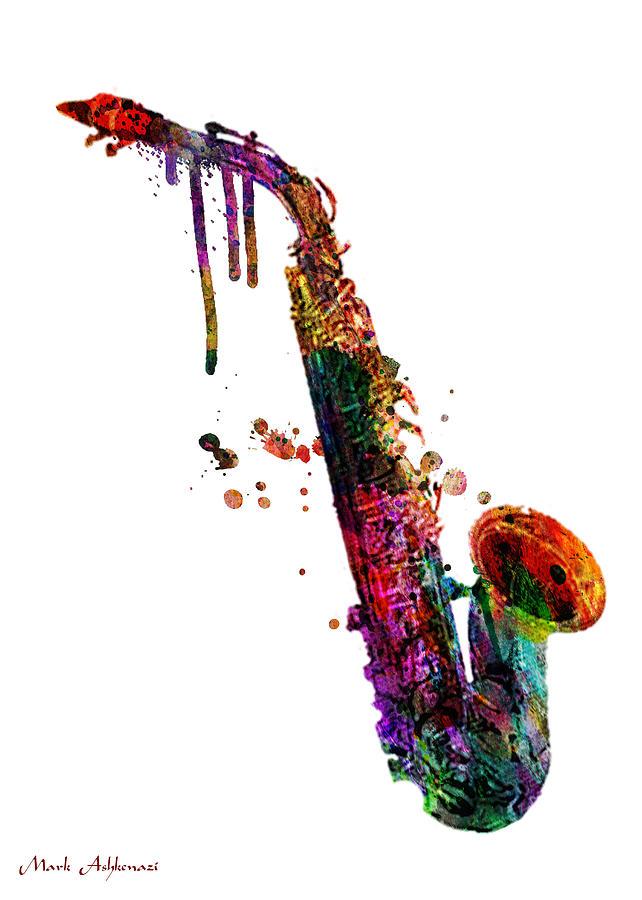 Saxophone Painting - Saxophone 2 by Mark Ashkenazi