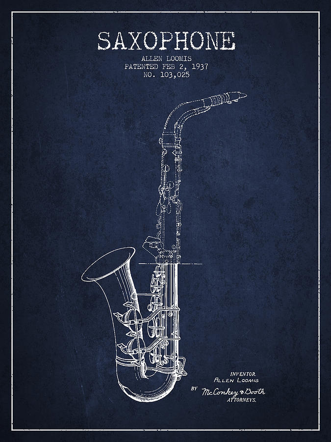 Saxophone Patent Drawing From 1937 - Blue Digital Art