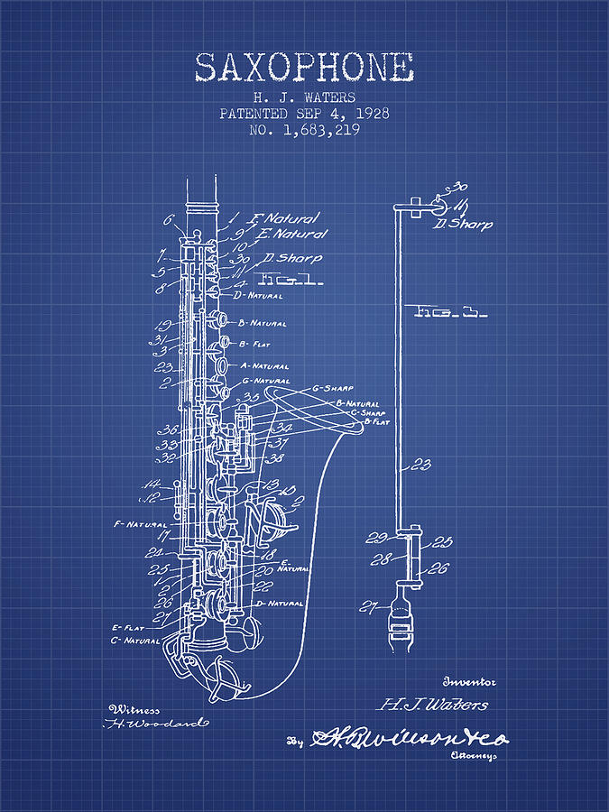 Saxophone patent from 1928 blueprint digital art by aged pixel saxophone digital art saxophone patent from 1928 blueprint by aged pixel malvernweather
