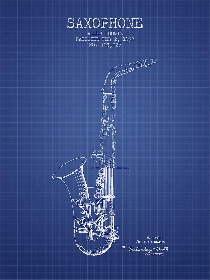 Saxophone patent from 1937 blueprint digital art by aged pixel saxophone digital art saxophone patent from 1937 blueprint by aged pixel malvernweather