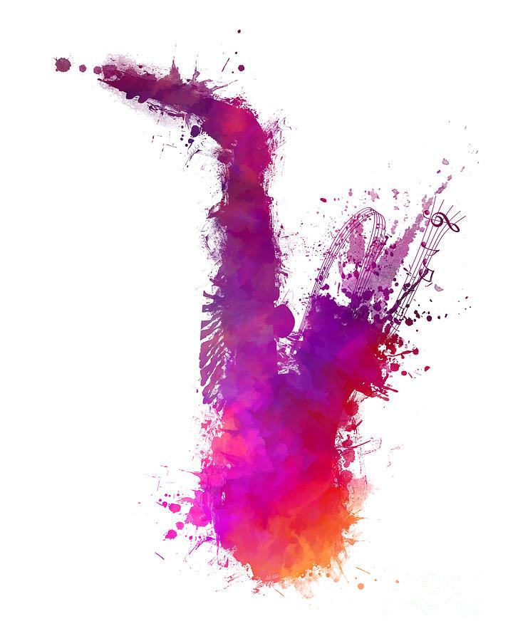 Saxophone Digital Art - Saxophone purple by Justyna Jaszke JBJart