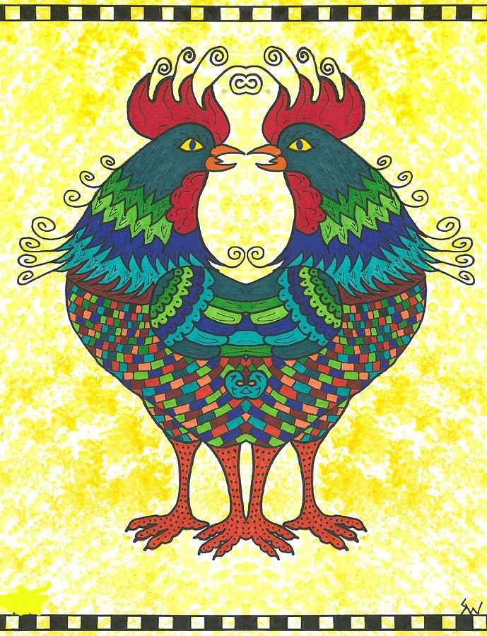 Chicken Painting - Say What by Susie WEBER