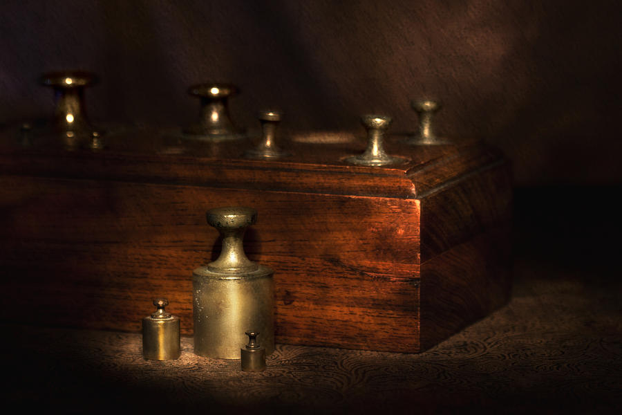 Antique Photograph - Scale Weights Still Life I by Tom Mc Nemar