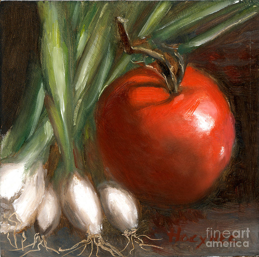 Scallion Painting - Scallions And Tomato by Addie Hocynec