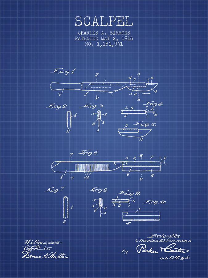 Scalpel patent from 1916 blueprint digital art by aged pixel medical device digital art scalpel patent from 1916 blueprint by aged pixel malvernweather Image collections