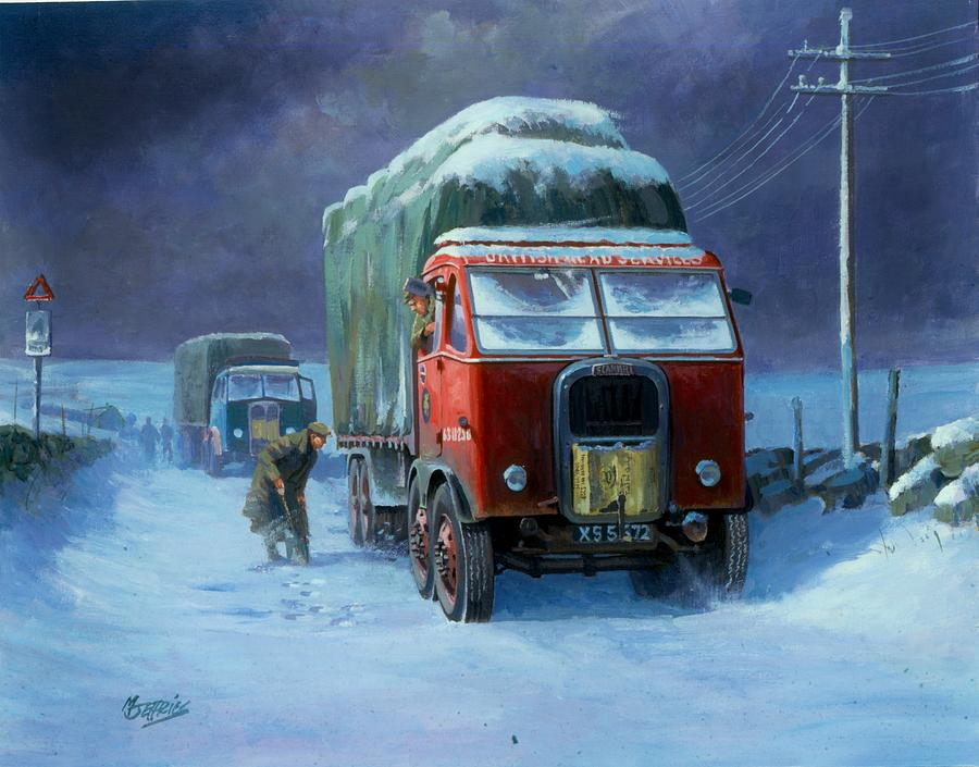 Lorry Painting - Scammell R8 by Mike  Jeffries