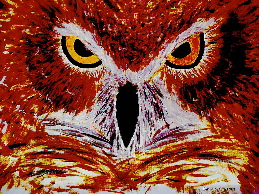 Red Painting - Scarlet Owl by David Cates