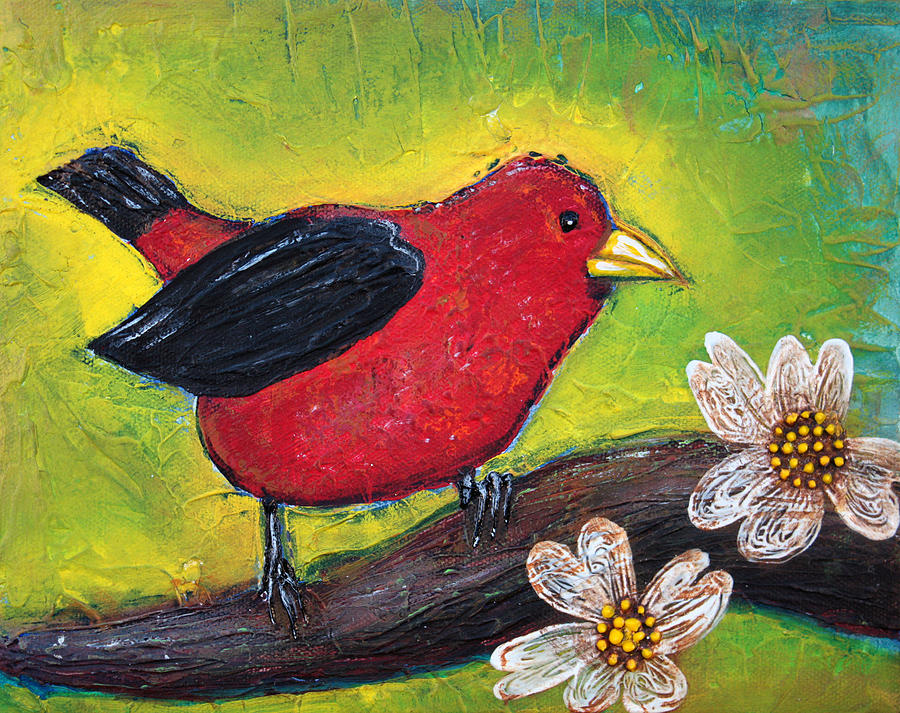 Songbird Painting - Scarlet Tanager by Laura Barbosa
