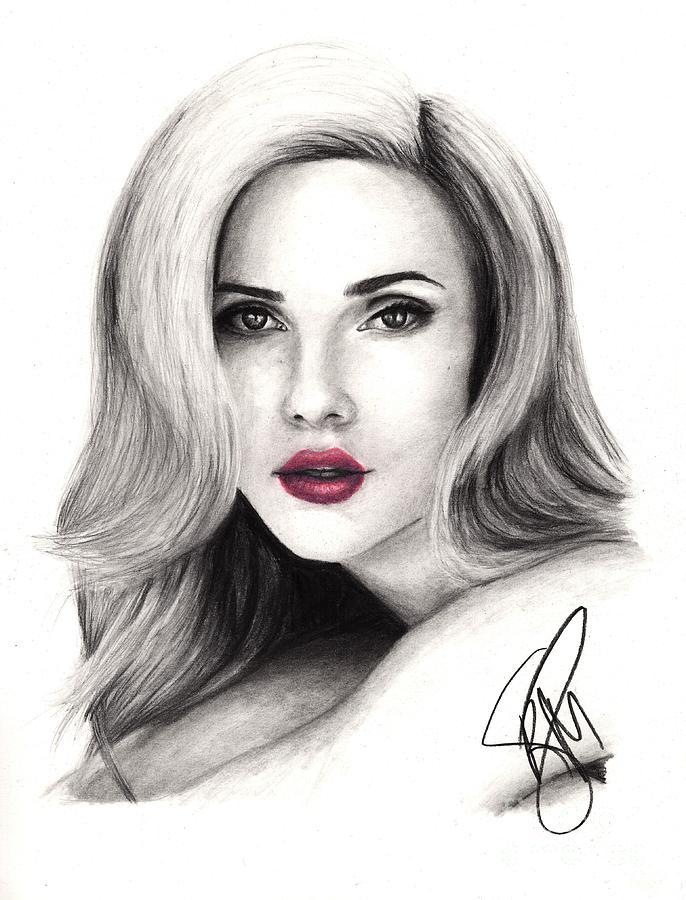 Scarlett Johansson Drawing - Scarlett Johansson by Rosalinda Markle