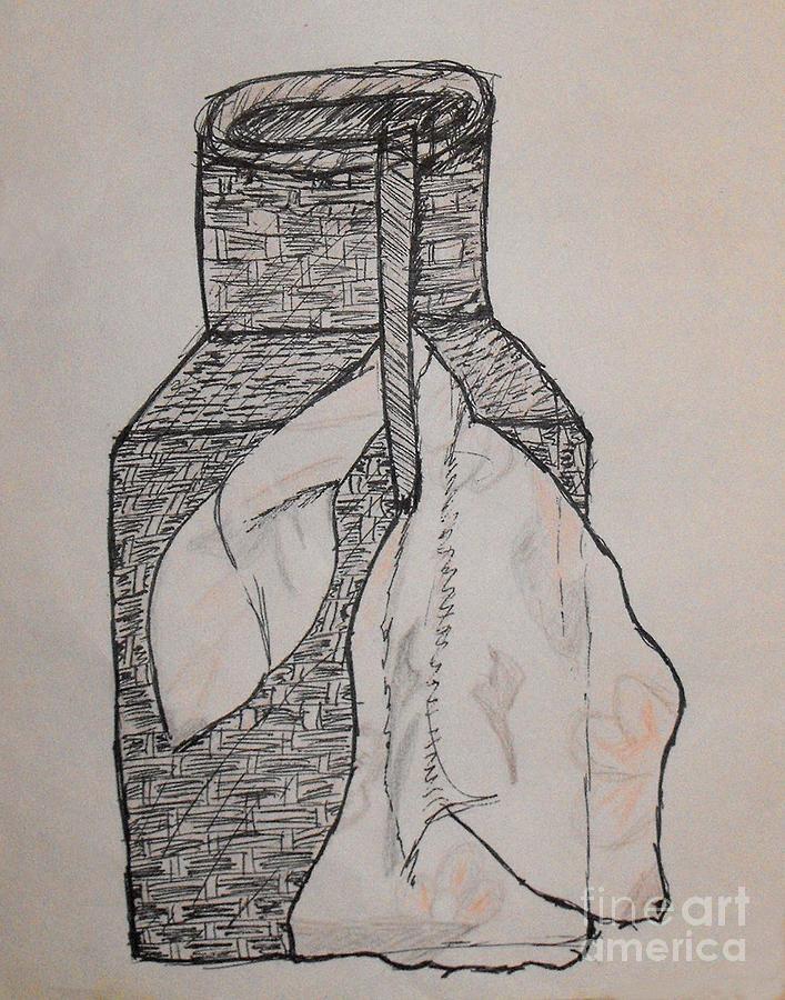 Wicker Drawing - Scarved Wicker Jar by Catherine Ratliff