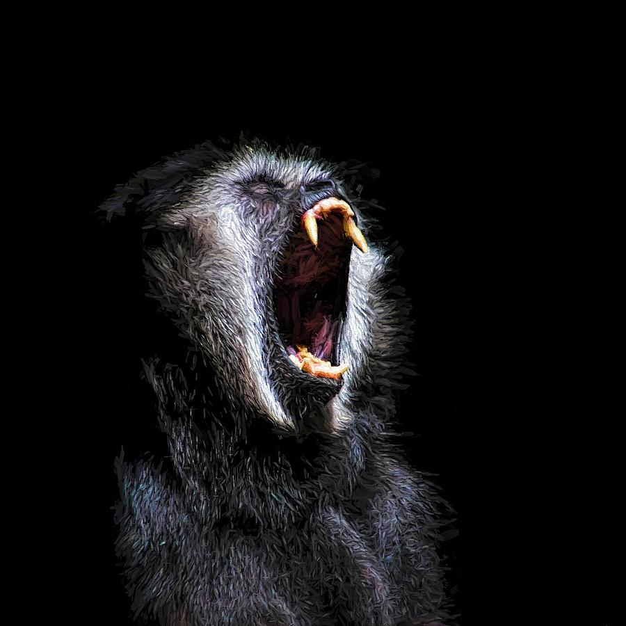 Scary Black Monkey Vicious Fanged Teeth Painting By Tracie Kaska