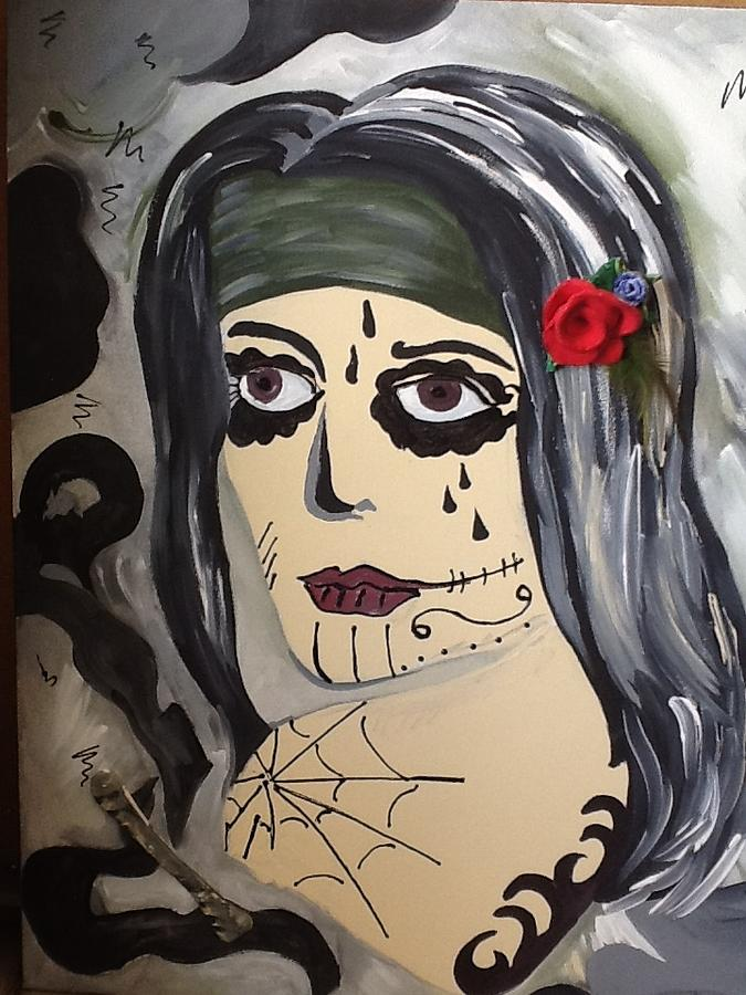 Day Of The Dead Mixed Media - Scary Girl by Karen Carnow