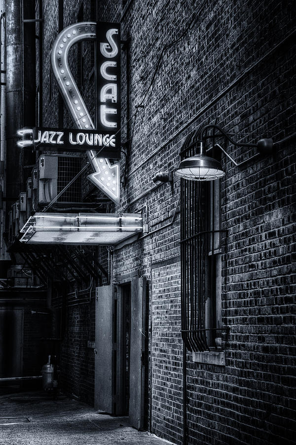 Fort Worth Photograph - Scat Lounge In Cool Black And White by Joan Carroll