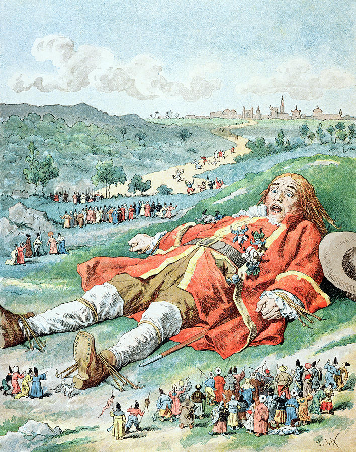 Children Book Painting - Scene From Gullivers Travels by Frederic Lix
