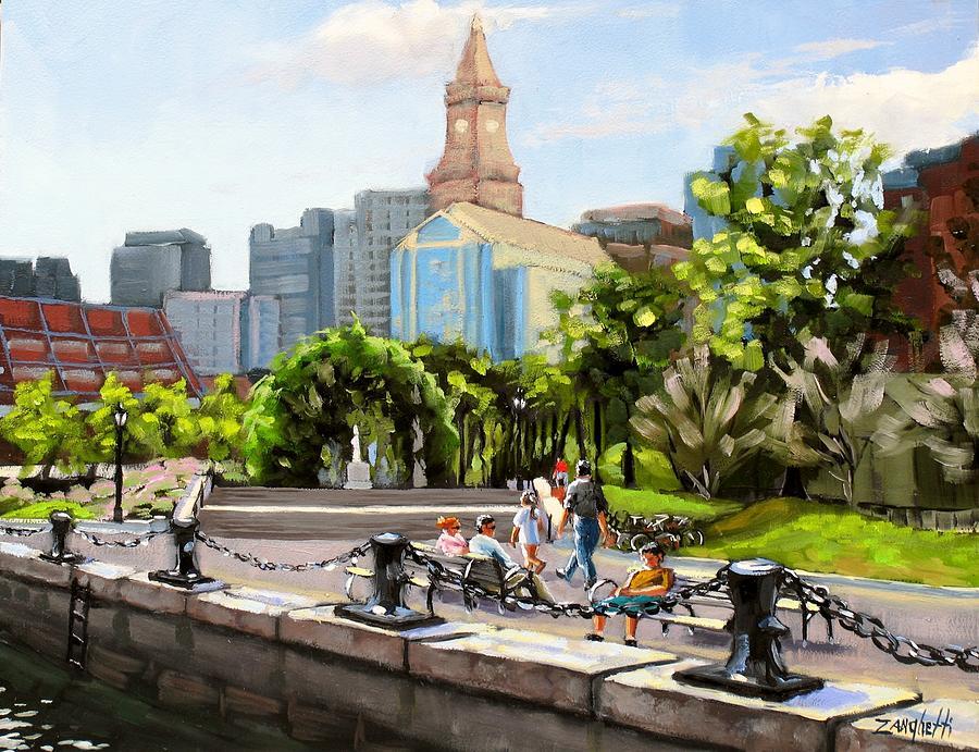 Waterfront Painting - Scenic Boston by Laura Lee Zanghetti