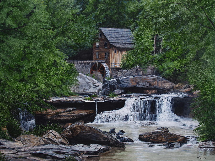Grist Mill Painting - Scenic Grist Mill by Vicky Path