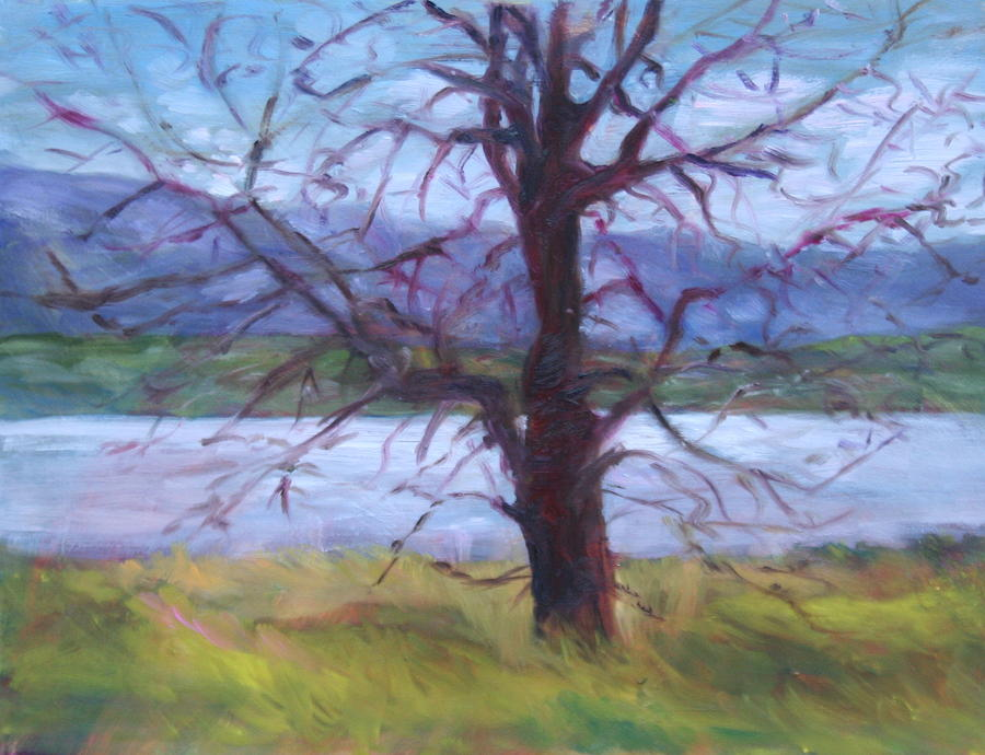 Water Painting - Scenic Landscape Painting Through Tree - Spring Has Sprung - Color Fields - Original Fine Art by Quin Sweetman