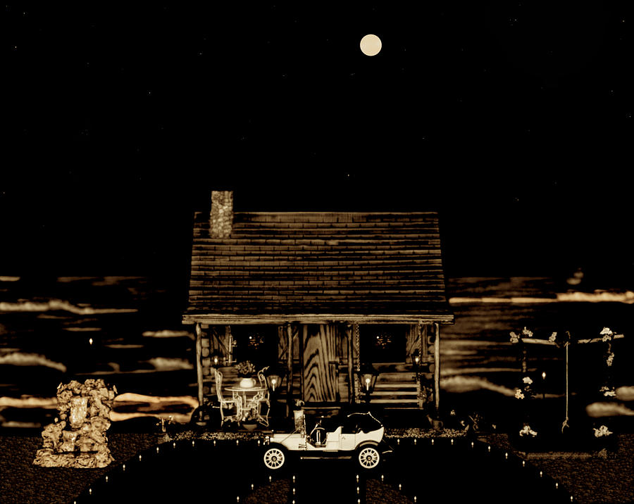 Log Cabins Photograph - Scenic View At Night by Leslie Crotty