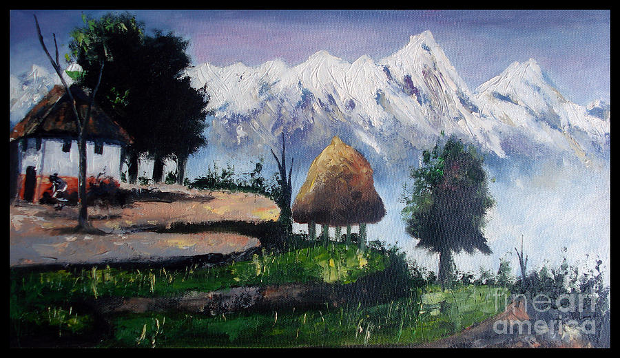 Landscape Mountain Painting - scenic view of Nepal by Sushant Adiga