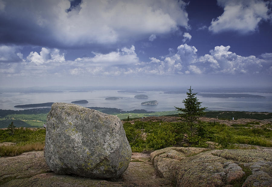 Landscape Photograph - Scenic View With Boulder On Top Of Cadilac Mountain by Randall Nyhof