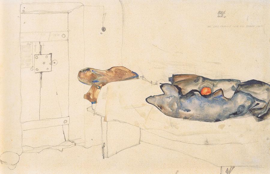 Egon Schiele Drawing - Schieles Drawing Of His Prison Cell In Neulengbach by Celestial Images
