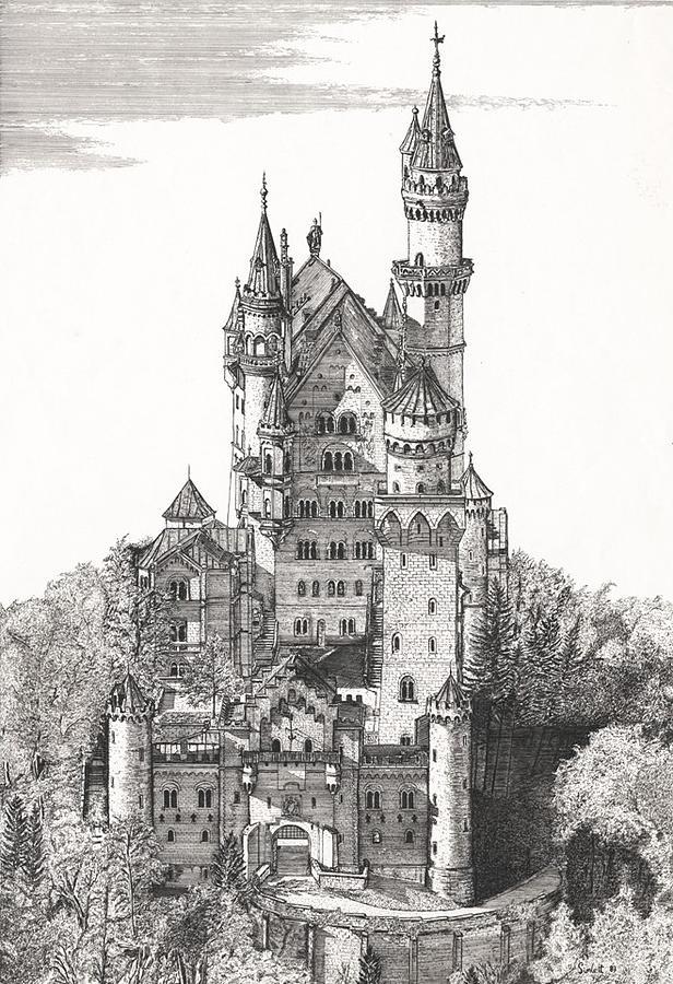 The Castle Drawing - Schloss Neuschwanstein  by John Simlett