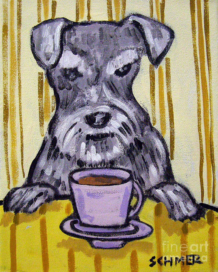 Schnauzer Painting - Schnauzer At The Coffee Shop by Jay  Schmetz