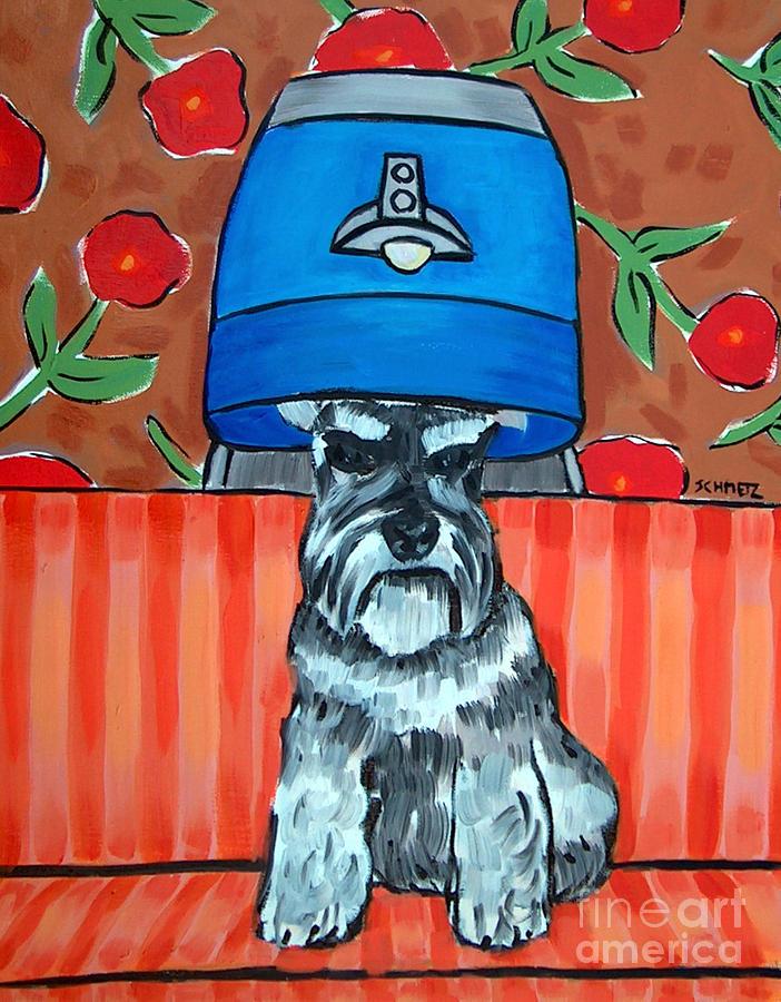 Schnauzer Painting - Schnauzer At The Salon by Jay  Schmetz
