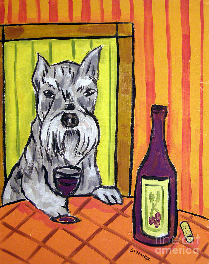 Schnauzer Painting - Schnauzer At The Wine Bar by Jay  Schmetz