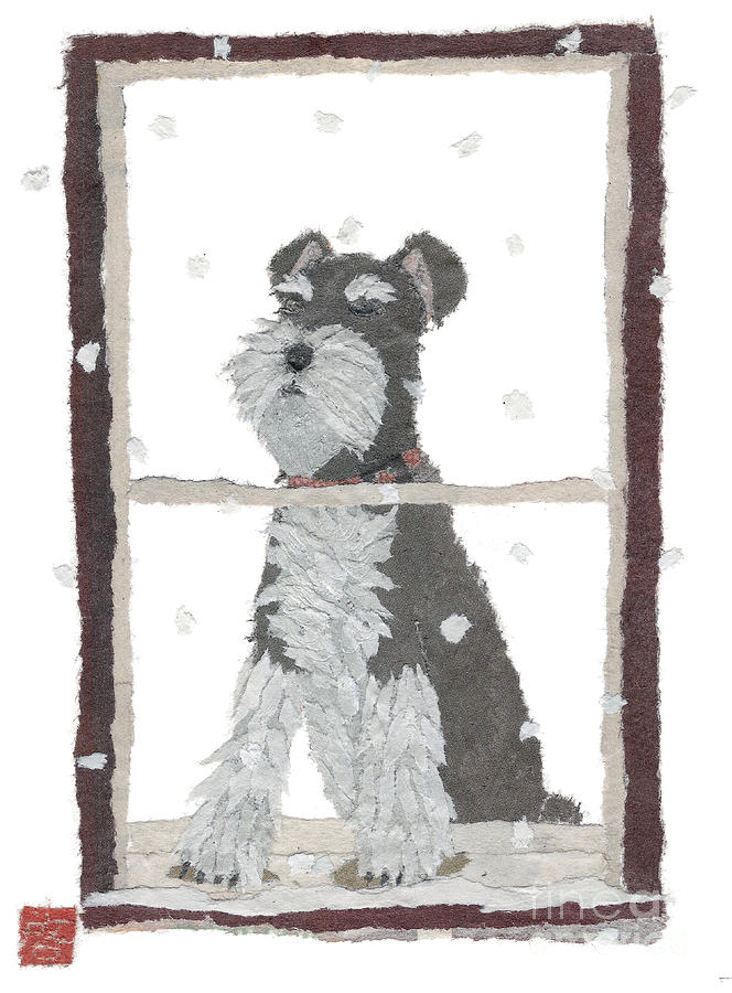 Schnauzer Mixed Media - Schnauzer Art Hand-torn Newspaper Collage Art by Keiko Suzuki Bless Hue