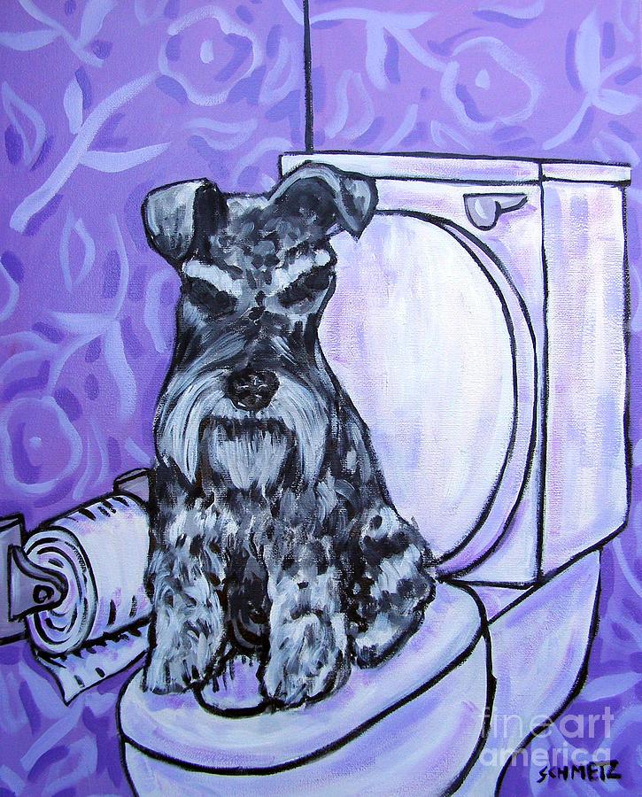 Schnauzer Painting - Schnauzer In The Bathroom by Jay  Schmetz