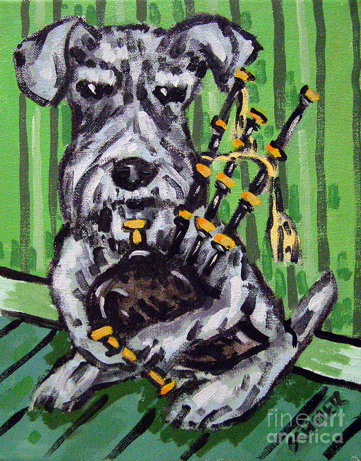 Schnauzer Painting - Schnauzer Playing Bagpipes by Jay  Schmetz