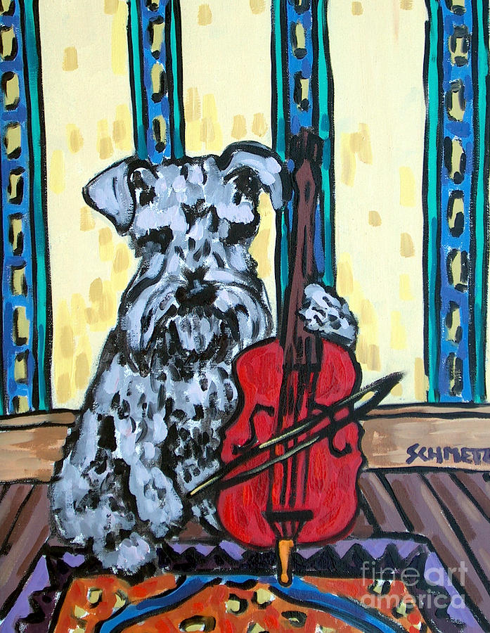 Schnauzer Painting - Schnauzer Playing Cello by Jay  Schmetz