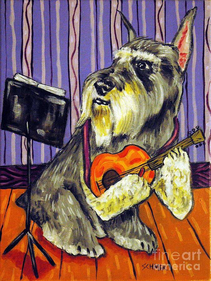 Schnauzer Painting - Schnauzer Playing Guitar by Jay  Schmetz