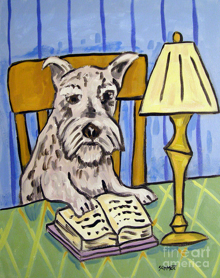 Schnauzer Painting - Schnauzer Reading A Book by Jay  Schmetz