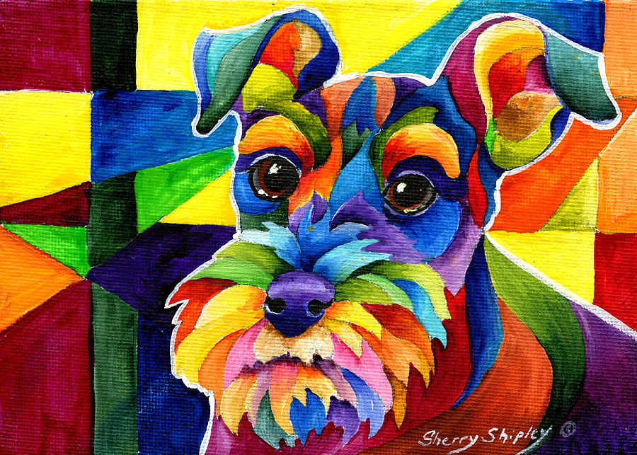 Schnauzer Painting By Sherry Shipley