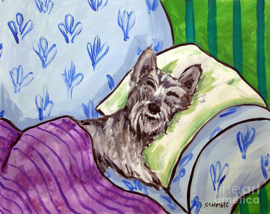 Schnauzer Painting - Schnauzer Sleeping by Jay  Schmetz