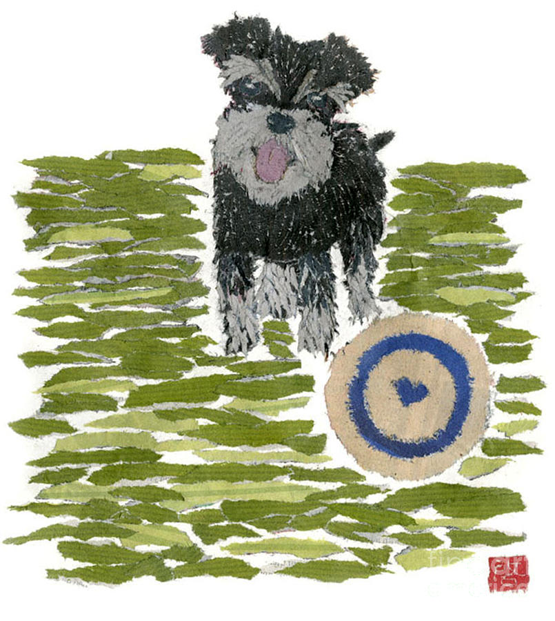 Dog Portrait Painting - Schnauzer Art Hand-torn Newspaper Collage Art Dog Portrait by Keiko Suzuki Bless Hue