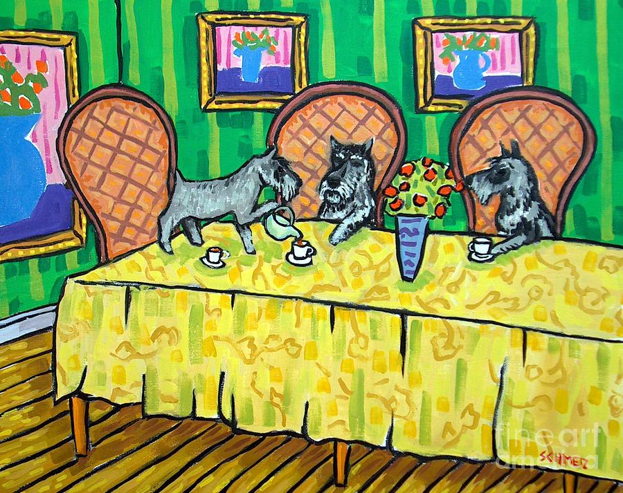 Schnauzer Painting - Schnauzers Tea Party by Jay  Schmetz