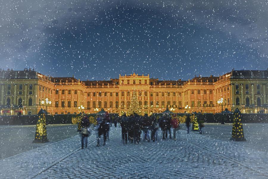 Joan Carroll Photograph - Schonbrunn Christmas Market by Joan Carroll