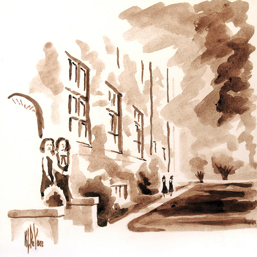 Water Color Painting - School Days At Ursuline by Kip DeVore
