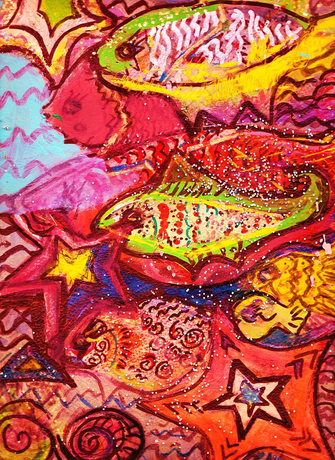 Red Mixed Media - School Of  Happy Fishes by Anne-Elizabeth Whiteway