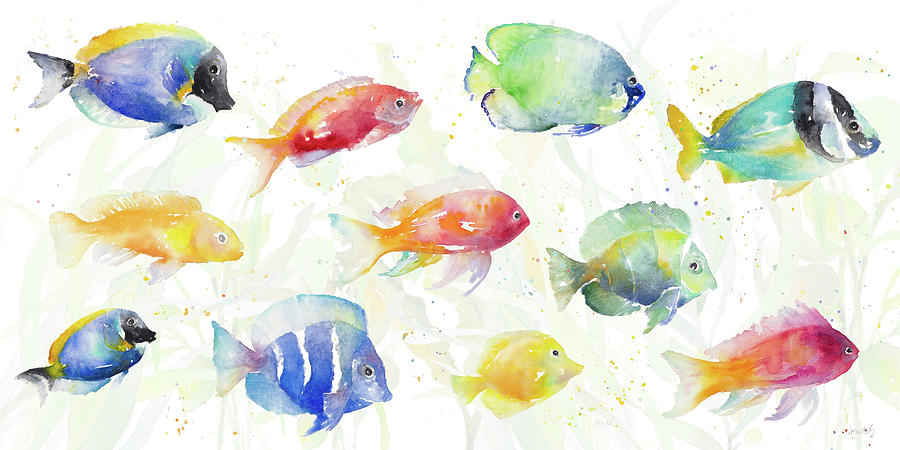 School Of Tropical Fish Painting By Lanie Loreth