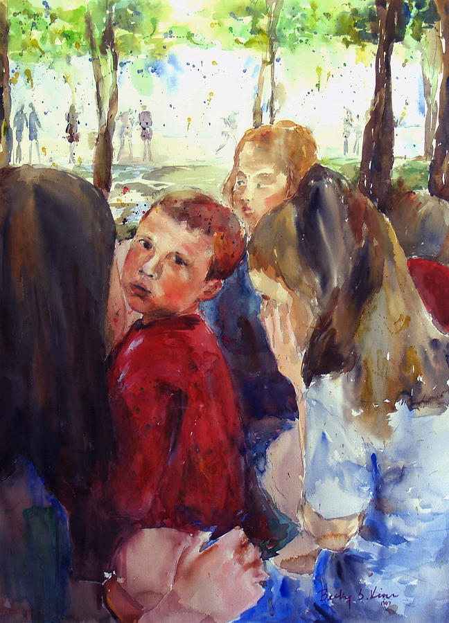 Portrait Painting - School Picnic 1 by Becky Kim