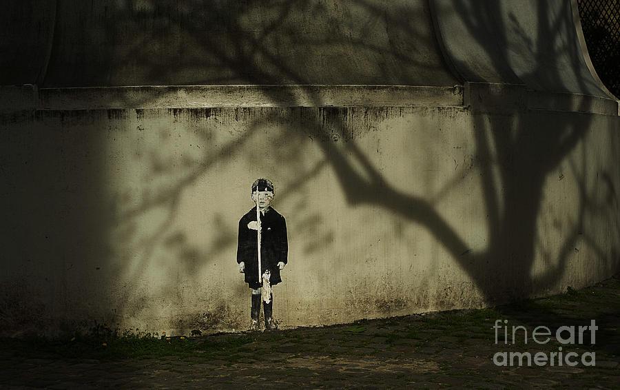 Graffiti. Street Art. Paris. Schoolboy. Shadows. Photograph - Schoolboy by Tina Osterhoudt
