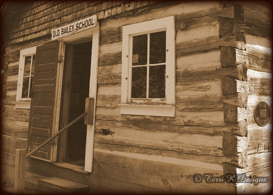 Old Photograph - Schoolhouse by Terri K Designs